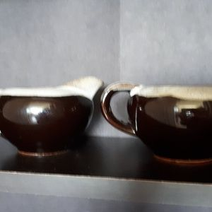 Other - Brown Drip Pottery Cream and Sugar Set